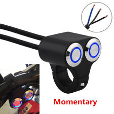 "7/8"" Dual Button Motorcycle CNC Handlebar Switch Horn Start Kill Blue Indicator"