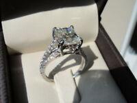 2ct princess diamond solitaire brilliant engagement ring 10k white gold finish
