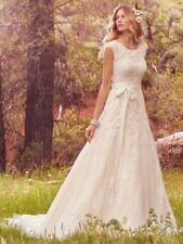 A-line Lace Cap Sleeve Boat Neck Wedding Dresses