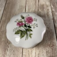 Vintage Lefton Pink And White Rose Small Lidded Trinket Box #3395
