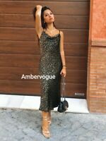 Zara Leopard Flowing Satin Midi Dress Size L UK 12