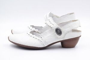 RIEKER Mary Jane Pumps EUR 42 UK 9 Weiß Echt Leder Damenschuhe