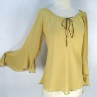 Vintage 90s Profile Yellow Sheer Gauze Peasant Blouse L Suede Drawstring Bell