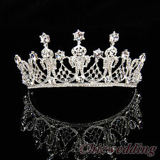 Royal Bridal Crown Crystal Rhinestone Jeweled Wedding Veil Tiara w/ Hair Comb