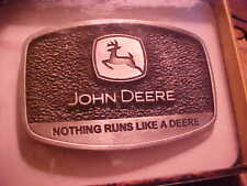 OLD John Deere Belt Buckle Made In The USA IN PACKAGE NOTHING RUNS LIKE A DEERE