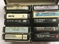 LOT OF 10- 8 Track Tapes & Case, Zeppelin, Bowie, Queen, Cars, J. Geils & more