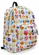 Emoji Travel Backpack Shoulder School Book Bag Rucksack White 32 x 13 x 42cm