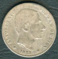 1883 Spanish Philippine ALFONSO XII 20 Centimos De Peso Silver Coin #2