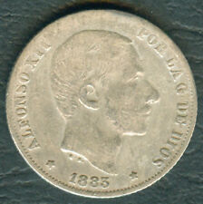 1883 Spanish Philippine ALFONSO XII 20 Centimos De Peso Silver Coin #2