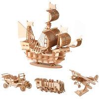 DIY Segelschiff Zug Flugzeug Spielzeug 3D Holz Puzzle Spielzeug Montage