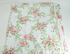 """Vintage Shabby Pink Roses Queen Flat Sheet 81""""X108 Cottage Chic Bedding 1977"""