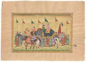 Indian Mughal Procession Paper Painting  Wall Art Decor Water Color Miniature