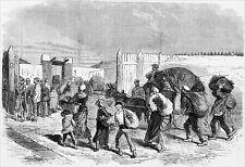 GUERRE de 1870 - MARCHÉ NOIR : RETOUR de BANLIEUE vers PARIS -Gravure 19e siècle