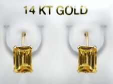 GENUINE 2.20 Cts YELLOW TOPAZ DANGLING EARRINGS 14K GOLD ** Free Certificate **