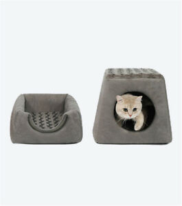 Pet Cat Igloo Bed Small Dog Soft Bed Met House Dual Purpose Covered(M60)