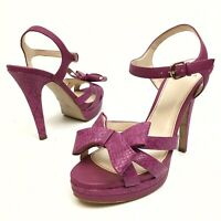 ISOLA Women's Sandals Strappy Slingback Heeled Sz 9.5M  Purple Buckle Bow EUC