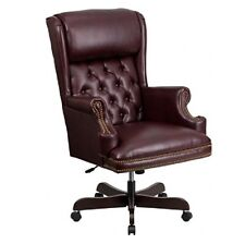 High Back Traditional Tufted Burgundy Leather Executive Office Chair Burgundy