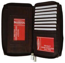Brown Zip Around Leather Checkbook Wallet Clutch Travel Case Passport Holder