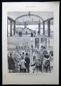 OPENING OF THAMES STEAM FERRY ROTHERHITHE WAPPING LONDON VICTORIAN PRINT 1877