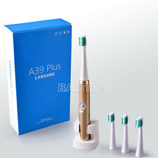 Dental Electric Wireless Rechargable Toothbrush Waterproof + 4pc Heads Gold 220V