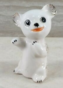 White Porcelain Polar Bear Hand Painted Figurine Gold Accents Made in Japan
