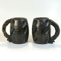 Hand Carved Wooden Mugs Pegged Handle Vintage Rustic Textured Lot of 2