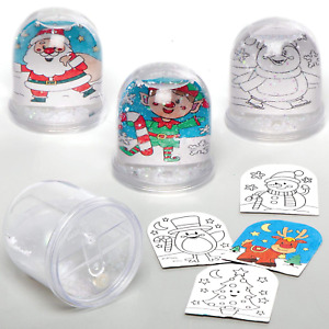 Baker Ross AX490 Christmas Color in Snow Globe Kits - Pack of 4, Make Your Own F