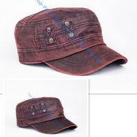 Vintage Faux Leather Men's Adjustable Army Plain Hat Cadet Military Baseball Cap