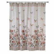 Avanti Butterfly Rose Garden Hand Beaded  Fabric Shower Curtain Ivory 72x72 NWT