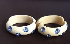 Vintage Weiss Blue Rhinestone Clamper Bracelets