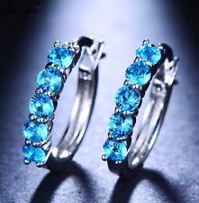 1 5/8 ct Sky Blue Topaz Hoop Earrings in Platinum over Brass