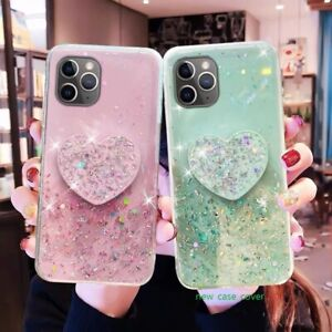 Bling Glitter Soft Case for iPhone 11 Pro 12 XS Max 8 7 With Heart Holder Relief