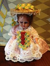 """Ooak Jointed 3-1/2"""" Victorian Doll Painted Shoes Brown Hair Blue Eyes Pink Dress"""