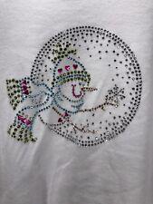 PFI Fashions, Inc White Rhinestone Bling Snowman Top Sz M Winter 3/4 Sleeve