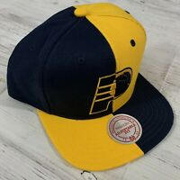 Indiana Pacers Retro Split Snapback Mitchell & Ness NBA Hat Royal/Yellow NWT