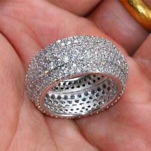 Full Eternity Engagement & Wedding Men's Ring 14K White Gold 4.9 Ct VVS1 Diamond