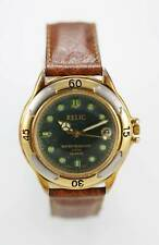 Relic Watch Mens Green Date Stainless Steel Silver Gold Leather Brown Quartz