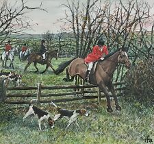 EQUESTRIAN Stunning Painting Horse Hunting Scene Signed Framed