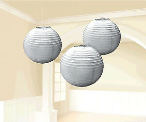 Silver Paper Lanterns Hanging Decorations Wedding Birthday Party Supplies ~ 3ct.