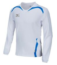 Mizuno Men GAME L/S T-Shirts Jersey Training White Blue Top Tee Shirt P2MA502201