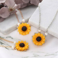 Pearl Yellow Sunflower Pendant Chain Necklace Women Collar Choker Party Jewelry