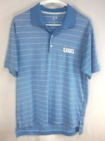 Adidas Climalite Mens Short Sleeve Golf Polo Shirt Small Blue White Striped