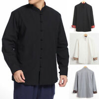 Men's Long Sleeve Stand Collar Vintage Chinese Style Tang Suit Blouse Shirt Tops