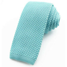 CRAVATE tricot bleu aigue-marine pour Homme bout carré - Knitted Tie / Cravatte