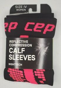 CEP 20-30MMHG Reflective Compression Nighttech Calf Sleeves Pink Size IV
