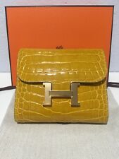 Auth Hermes Alligator Constance Short Wallet In Juane Ambre color GHW