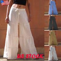 US Women's Plain Loose Wide Leg Pants Ladies Casual Elastic Waist Harem Trouser
