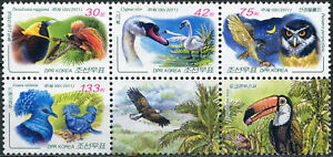 KOREA - 2011 - BLOCK OF 4 STAMPS AND 2 LABELS MNH ** - Birds