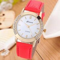 Fashion Geneva Women Diamond Analog Leather Quartz Movement Wrist Watch Watches