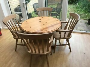 Pine Drop Leaf Table & Carver Chairs for absolute comfort in a small space